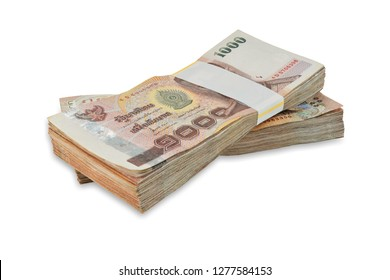 Banknote 1000 baht Thai isolated on white background. This has clipping path. Full depth of field.