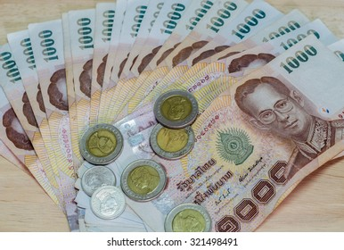 Banknote and Coin of Thai Baht of Thailand