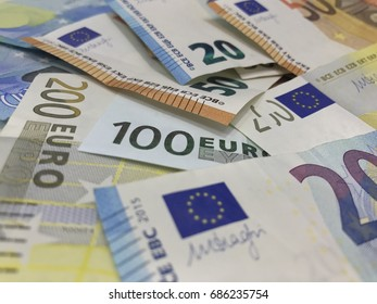 Banknote of  Euro money.Background of Euro bills