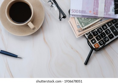 Banknote money on table background and saving money and business growth concept,finance and investment concept