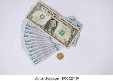 Banknote money on white background and saving money and business growth concept,finance and investment concept