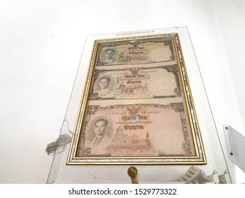 Banknote one baht thai five baht thai ten baht thailand king in the Banknote baht thai