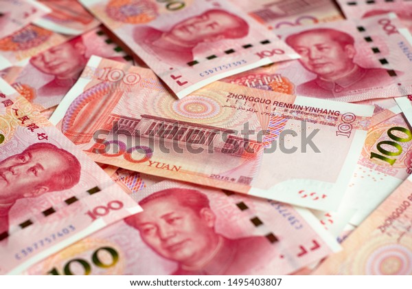 Banknote one hundred yuan. More chinese yuan background.