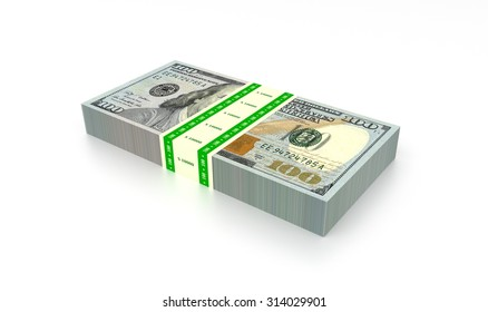 Banknote stack of ten thousand dollars rendered illustration.