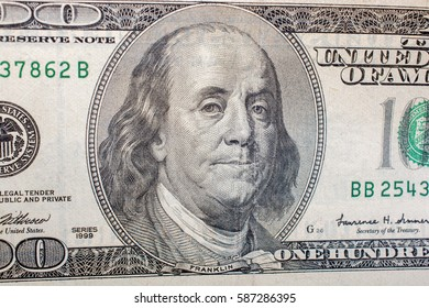 Banknote of US dollar is partly in view