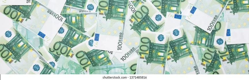 Banknotes 100 euros beautifully laid out. Euro euro money. European Union banking, financial savings.