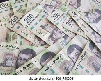 banknotes of 200 mexican pesos, background and texture