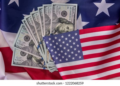 Banknotes of american dollar on national flag