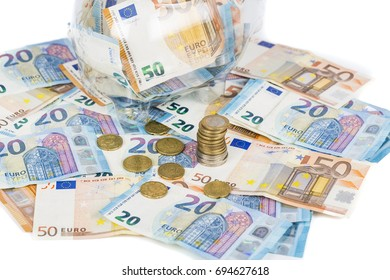 banknotes bills and pile of coins European currency money
