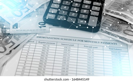 Banknotes, calculator and amortization schedule; light effect