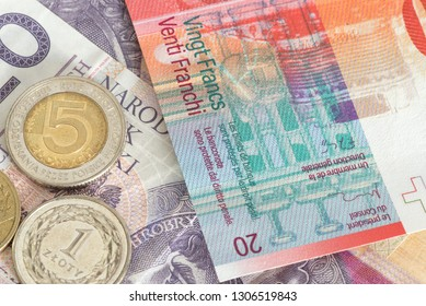 Banknotes and coins Polish zloty PLN and Swiss francs CHF