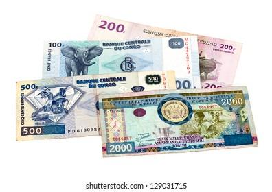 Banknotes of the Congo and Burundi isolated on white background