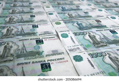 banknotes denominated 1000 rubles ranked in