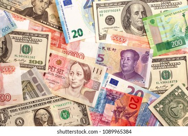 Banknotes of different countries background, top view