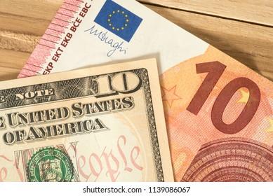 Banknotes dollars and euros