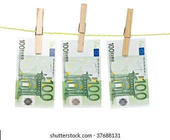 banknotes drying  on rope after laundry