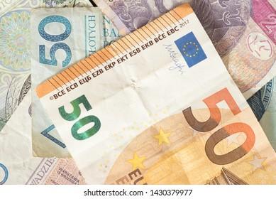 Banknotes Euro and Polish zloty PLN