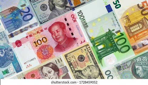 Banknotes of the European Union, China and the United States of America lying together