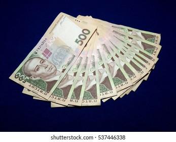 Banknotes five hundred hryvnia on blue background
