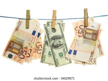 Banknotes hanging on laundry line isolated on white