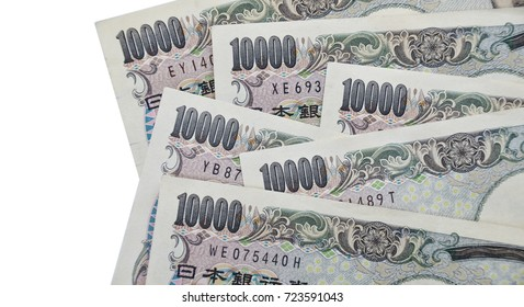 Banknotes of Japanese currency yen background, JPY money