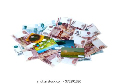 Banknotes and plastic cash cards on a white background