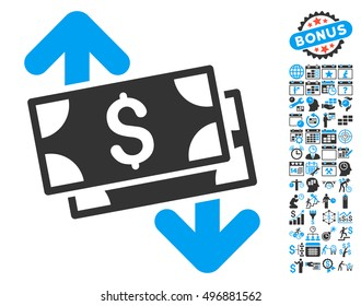 Banknotes Spending pictograph with bonus calendar and time management clip art. Glyph illustration style is flat iconic bicolor symbols, blue and gray colors, white background.