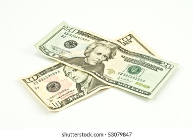 banknotes of ten and twenty dollars on white background
