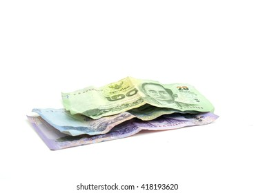 Banknotes Thailand On white background