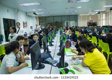 Bankok , Thailand. July 07, 2018 : The teacher is training computer, Teachers are training computer Thailand 4.0 and Microbit. on Thailand.