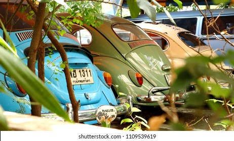 Bankok, Thailand - JUNE 01, 2018: Economy car Volkswagen Beetle color blue, green and gray.