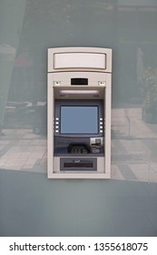 Bankomat Atm at Bank Building Glass Wall in Austria