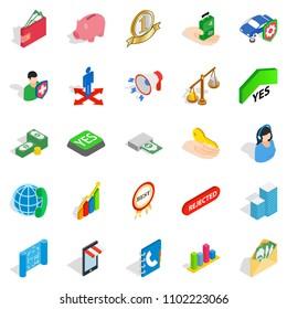 Bankrupt icons set. Isometric set of 25 bankrupt icons for web isolated on white background