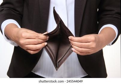 Bankrupt person showing empty wallet