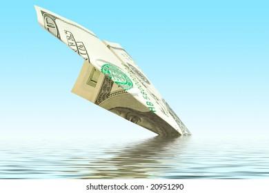 bankruptcy business. money plane crash