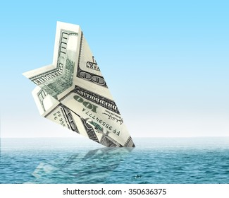 Bankruptcy business. Money plane wreck. Business concept