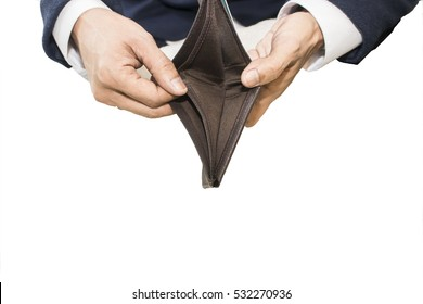 Bankruptcy - Businessman holding an empty wallet on white background