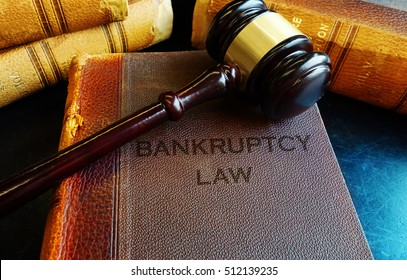 Bankruptcy Law books with court gavel