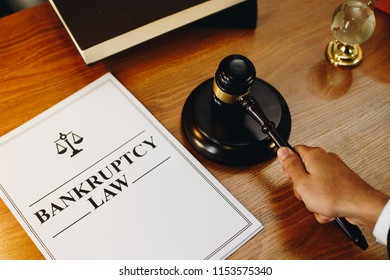 Bankruptcy legal documents with gavel at the side