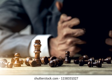 Bankruptcy of loser businessman and failure of entrepreneur.The battle of competition and strategy ideas with market mechanism.