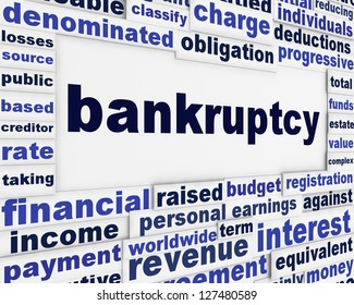 Bankruptcy word clouds creative financial message. Financial crisis conceptual background