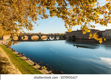 the banks of the Garonne and the new bridge in Toulouse in Occitanie in France