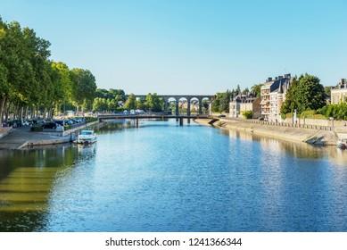 Banks of the Mayenne river, City of Laval, Mayenne, Pays de Loire, France