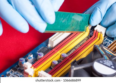 Banks of memory in hands before inserting to PC mainboard