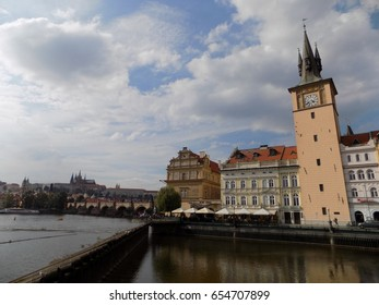 banks of the river in Prague