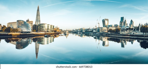 The banks of river Thames seen from Tower Bridge
