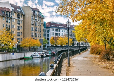 Banks of Spree canal in autumn in Mitte, Berlin, Germany