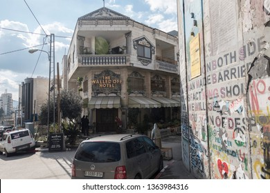 The Banksy Hotel in Bethlehem, West Bank, Palestine, 11/02/19