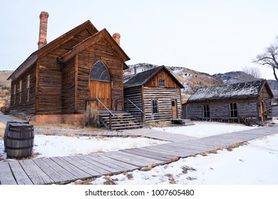 BANNACK, MONTANA, USA - December 15, 2017: Old rustic buildings in winter at Bannack Historic State Park