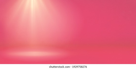 Banner of abstract chromatic pink gradient spotlight room texture background. Chromatic pink background with little grunge. Studio backdrop wallpaper light room wall and empty space.